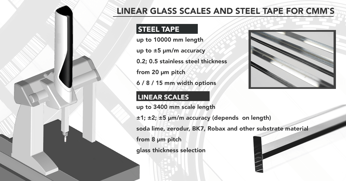 Glass scales used for CMM